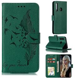 Intricate Embossing Lychee Feather Bird Leather Wallet Case for Huawei P Smart+ (2019) - Green