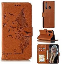 Intricate Embossing Lychee Feather Bird Leather Wallet Case for Huawei P Smart+ (2019) - Brown