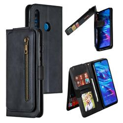 Multifunction 9 Cards Leather Zipper Wallet Phone Case for Huawei P Smart+ (2019) - Black
