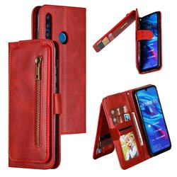 Multifunction 9 Cards Leather Zipper Wallet Phone Case for Huawei P Smart+ (2019) - Red