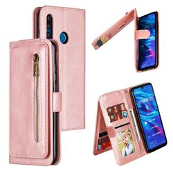 Multifunction 9 Cards Leather Zipper Wallet Phone Case for Huawei P Smart+ (2019) - Rose Gold