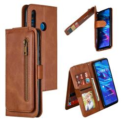 Multifunction 9 Cards Leather Zipper Wallet Phone Case for Huawei P Smart+ (2019) - Brown