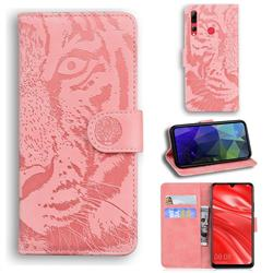 Intricate Embossing Tiger Face Leather Wallet Case for Huawei P Smart+ (2019) - Pink