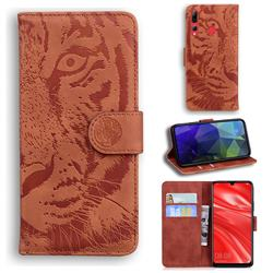 Intricate Embossing Tiger Face Leather Wallet Case for Huawei P Smart+ (2019) - Brown