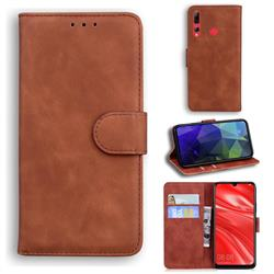 Retro Classic Skin Feel Leather Wallet Phone Case for Huawei P Smart+ (2019) - Brown