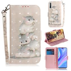 Three Squirrels 3D Painted Leather Wallet Phone Case for Huawei P Smart S (2020)
