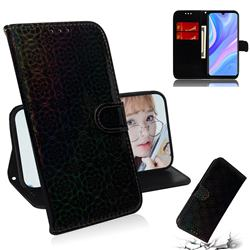 Laser Circle Shining Leather Wallet Phone Case for Huawei P Smart S (2020) - Black