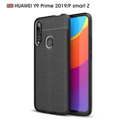 Luxury Auto Focus Litchi Texture Silicone TPU Back Cover for Huawei P Smart Z (2019) - Black