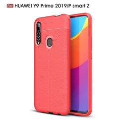 Luxury Auto Focus Litchi Texture Silicone TPU Back Cover for Huawei P Smart Z (2019) - Red