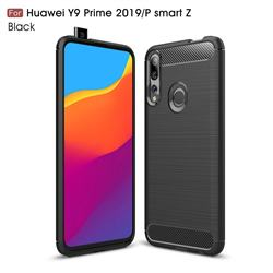 Luxury Carbon Fiber Brushed Wire Drawing Silicone TPU Back Cover for Huawei P Smart Z (2019) - Black