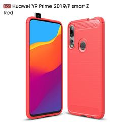 Luxury Carbon Fiber Brushed Wire Drawing Silicone TPU Back Cover for Huawei P Smart Z (2019) - Red
