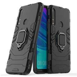 Black Panther Armor Metal Ring Grip Shockproof Dual Layer Rugged Hard Cover for Huawei P Smart Z (2019) - Black