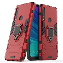 Black Panther Armor Metal Ring Grip Shockproof Dual Layer Rugged Hard Cover for Huawei P Smart Z (2019) - Red