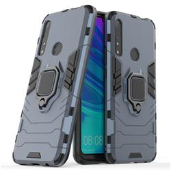 Black Panther Armor Metal Ring Grip Shockproof Dual Layer Rugged Hard Cover for Huawei P Smart Z (2019) - Blue