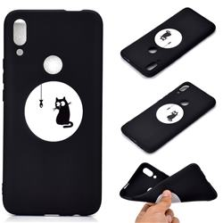 Fish Fishing Cat Chalk Drawing Matte Black TPU Phone Cover for Huawei P Smart Z (2019)