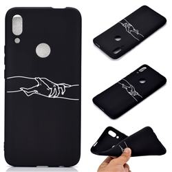 Handshake Chalk Drawing Matte Black TPU Phone Cover for Huawei P Smart Z (2019)