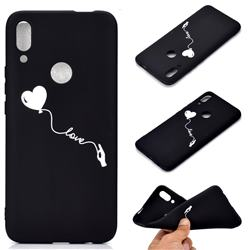 Heart Balloon Chalk Drawing Matte Black TPU Phone Cover for Huawei P Smart Z (2019)