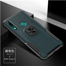 Knight Armor Anti Drop PC + Silicone Invisible Ring Holder Phone Cover for Huawei P Smart Z (2019) - Navy