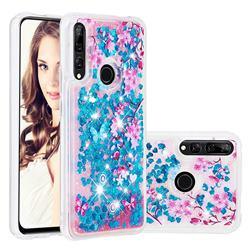 Blue Plum Blossom Dynamic Liquid Glitter Quicksand Soft TPU Case for Huawei P Smart Z (2019)