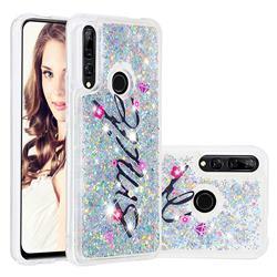 Smile Flower Dynamic Liquid Glitter Quicksand Soft TPU Case for Huawei P Smart Z (2019)