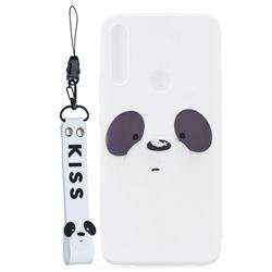 White Feather Panda Soft Kiss Candy Hand Strap Silicone Case for Huawei P Smart Z (2019)