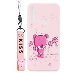 Pink Flower Bear Soft Kiss Candy Hand Strap Silicone Case for Huawei P Smart Z (2019)