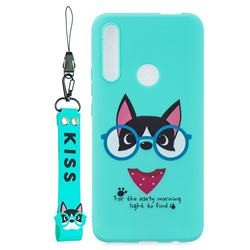 Green Glasses Dog Soft Kiss Candy Hand Strap Silicone Case for Huawei P Smart Z (2019)