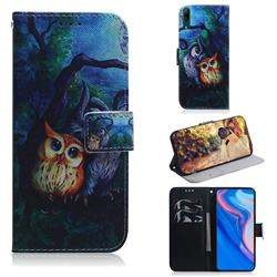 Oil Painting Owl PU Leather Wallet Case for Huawei P Smart Z (2019)