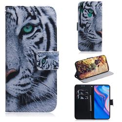 White Tiger PU Leather Wallet Case for Huawei P Smart Z (2019)