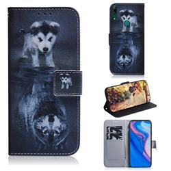 Wolf and Dog PU Leather Wallet Case for Huawei P Smart Z (2019)