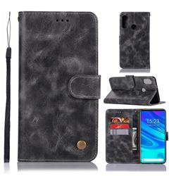 Luxury Retro Leather Wallet Case for Huawei P Smart Z (2019) - Gray