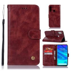 Luxury Retro Leather Wallet Case for Huawei P Smart Z (2019) - Wine Red