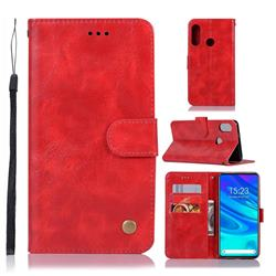 Luxury Retro Leather Wallet Case for Huawei P Smart Z (2019) - Red
