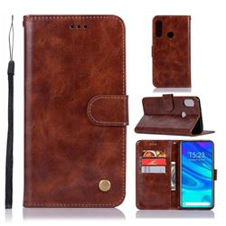 Luxury Retro Leather Wallet Case for Huawei P Smart Z (2019) - Brown