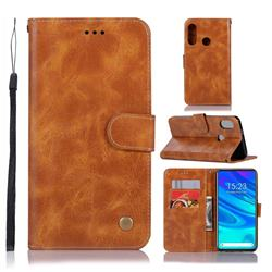 Luxury Retro Leather Wallet Case for Huawei P Smart Z (2019) - Golden