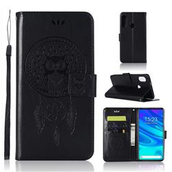 Intricate Embossing Owl Campanula Leather Wallet Case for Huawei P Smart Z (2019) - Black
