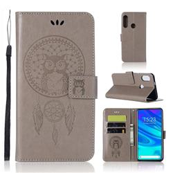 Intricate Embossing Owl Campanula Leather Wallet Case for Huawei P Smart Z (2019) - Grey
