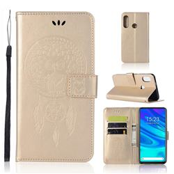 Intricate Embossing Owl Campanula Leather Wallet Case for Huawei P Smart Z (2019) - Champagne