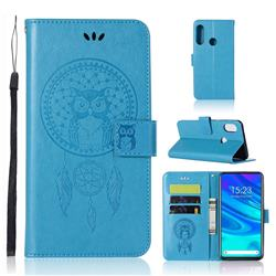 Intricate Embossing Owl Campanula Leather Wallet Case for Huawei P Smart Z (2019) - Blue