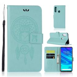 Intricate Embossing Owl Campanula Leather Wallet Case for Huawei P Smart Z (2019) - Green