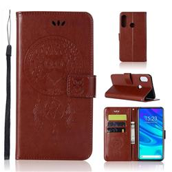 Intricate Embossing Owl Campanula Leather Wallet Case for Huawei P Smart Z (2019) - Brown