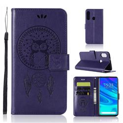 Intricate Embossing Owl Campanula Leather Wallet Case for Huawei P Smart Z (2019) - Purple