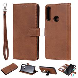 Retro Greek Detachable Magnetic PU Leather Wallet Phone Case for Huawei P Smart Z (2019) - Brown