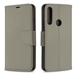 Classic Luxury Litchi Leather Phone Wallet Case for Huawei P Smart Z (2019) - Gray