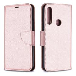 Classic Luxury Litchi Leather Phone Wallet Case for Huawei P Smart Z (2019) - Golden