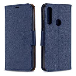 Classic Luxury Litchi Leather Phone Wallet Case for Huawei P Smart Z (2019) - Blue