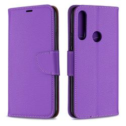 Classic Luxury Litchi Leather Phone Wallet Case for Huawei P Smart Z (2019) - Purple