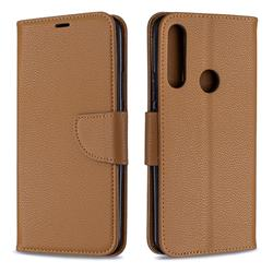 Classic Luxury Litchi Leather Phone Wallet Case for Huawei P Smart Z (2019) - Brown