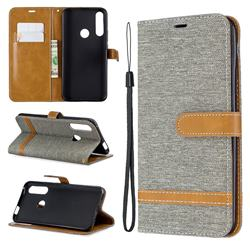 Jeans Cowboy Denim Leather Wallet Case for Huawei P Smart Z (2019) - Gray