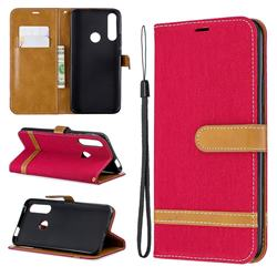 Jeans Cowboy Denim Leather Wallet Case for Huawei P Smart Z (2019) - Red